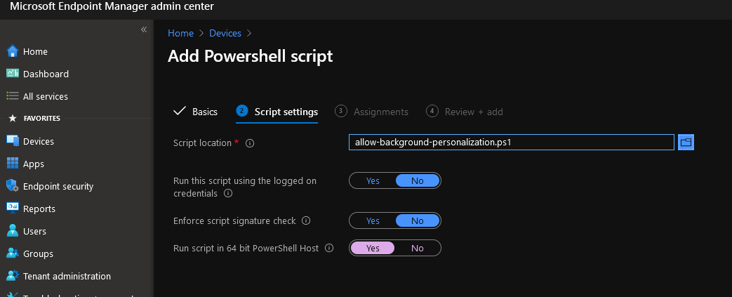intune add powershell script